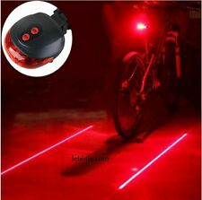 E47R Bicycle Bike Rear Tail Safety Warning 5 LED 2 Laser Red Flashing Lights