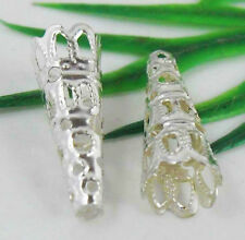 50Pcs Silver Plated Bugle Filigree Bead End Cap Cone 22x9mm (Lead-free)