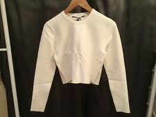 Proenza Schouler Off White Cropped Crewneck Viscose Sweater, Size L, NWT! $890