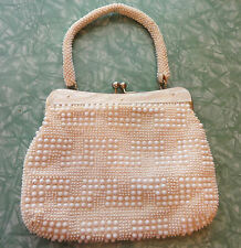 Vintage White Beaded Purse w/ Pearlized Top 1950's mid century evening bag retro