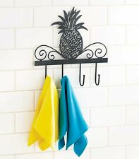 Rustic Pineapple Tropical Fruits Wall Hooks Scrolled Metal Kitchen Hooks