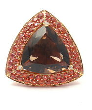 Authentic! Mauboussin 18k Rose Gold Topaz Amethyst Citrine Large Triangle Ring