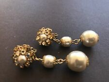 long Sign Miriam Haskell  Large Baroque Pearls Earrings Jewelry