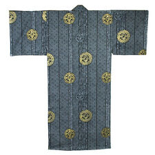 "Japanese Men's 58"" Cotton Kimono Yukata Robe Ancient Coin Pattern, Made in Japan"