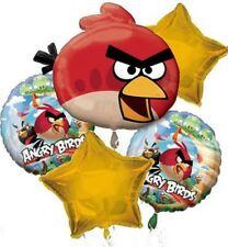 Angry Birds 5 Birthday Mylar Bouquet Balloons Party Decoration Set