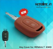 Keyzone Silicone Car Key Cover fit for Renault Kwid remote key (brown)