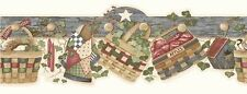 Wallpaper Border Country Baskets Eggs Wreaths Quilt Candles Apples Birdhouse Ivy