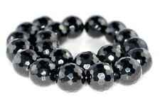 10MM BLACK JET GEMSTONE ORGANIC MICRO FACETED ROUND LOOSE BEADS 7""