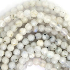"4mm faceted white moonstone round beads 15"" strand"