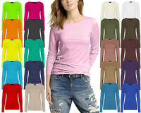 New Women's Plain Long Sleeve Round Neck Basic Ladies Stretch T-Shirt Top 8-14
