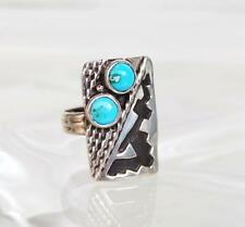 Vtg Old Pawn Navajo Carico Lake Turquoise Sterling Silver Overlay Ring Sz 6 1/2