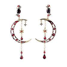 New Multi Stones Chandelier Drop Earrings Pearl Star & Moon Long Pendant Jewelry