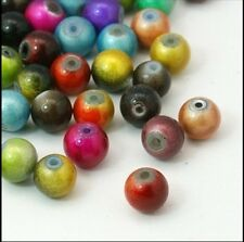 *CLEARANCE* 100 Painted Glass Beads 6mm Mixed Colour *CLEARANCE*.