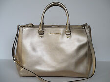 Michael Kors Sutton Saffiano Large Pale Gold Leather Satchel Handbag