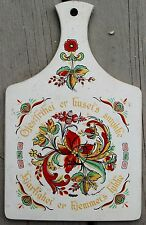 Vintage 1966 Berggren Scandinavian Norwegian Decorative Rosemaling Bread Board