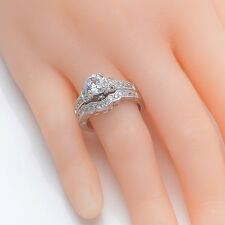 1.75 Ct Round Cut CZ White Gold Plated Wedding Band Engagement Ring Set Size 8