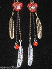 """Valentine Day Gift Crystal Red Love Heart Of The Swan 5"""" Drop Earrings"""