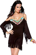 Ladies Pocahontas Red Indian Native Squaw Costume Beaded Black Dress Size 12-14