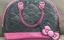 HELLO KITTY  BAG PURSE HANDBAG BLACK EMBOSSED DOME LADIES PINK  LOUNGEFLY TOTE