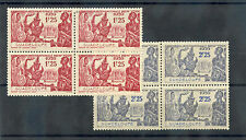 GUADELOUPE Sc 155-6(YT 140-1)**VF NH 1939 NY FAIR BLOCKS OF 4 ( DRYISH GUM) $55