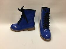 New Boxed Ladies Navy Blue Dr.Martens Style Faux Patent Lace up Boots UK 4 EU 37