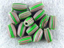 TRADE-BEADS-VENETIAN-ANTIQUE-OBLONG-3-LAYER-GREEN-MULTI-STRIPED-BEAUTIFUL-COLOR