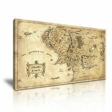 Hobbit Lord of the Rings Middle Earth Map Canvas Wall Art Picture Print 60x30cm