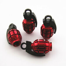 4 Pcs Red Grenade Bomb Wheel Tyre Tire Valve Stems Cap Dust Cover For Most Model