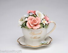 "PORCELAIN ""SPECIAL MOM"" BOUQUET OF FLOWERS CUP & SAUCER ""MEMORY"" MUSIC BOX-NEW"