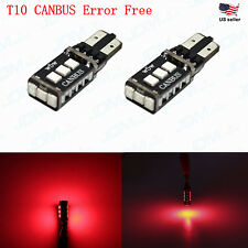 JDM ASTAR 2x T10 Red CANBUS Error Free PX SMD LED License Map Light Bulb 194 168