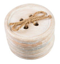 Set Of 6 Button Wood Coasters Rustic Shabby Chic Vintage Country Sewing Gift