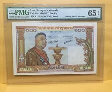 "1957 Laos, Banque Nationale 100 Kip P-6a ""RADAR"" Serial PMG 65 EPQ"