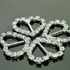 10 X Heart Diamante Rhinestone Buckles Ribbon Sliders Wedding Decoration 18x19mm