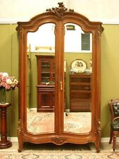 MAGNIFICENT ANTIQUE FRENCH WALNUT 2 DOOR MIRRORED ARMOIRE STORAGE CABINET c1920s