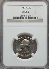 1989 P Washington 25c Quarter, NGC Certified MS 66 - Lists at $125 - Free Ship