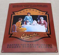 Eduscho Kaffee Tee Kakao  Emailschild Blechschild emaliertes Schild  30 x 40 cm