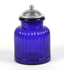 COVERED COBALT BLENKO JAR WITH ADDED SILVERED TOP