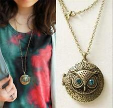 Vintage Accessary Openable Owl Pendant Necklace Long Chain Photo Locket