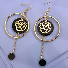 Women Golden Color Ring & Metal ROSE Chain Black Beads Drop Dangle Hook Earrings