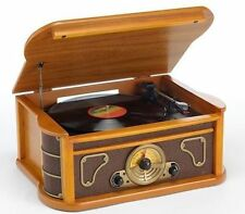 Steepletone bromley nostalgique vinyl record player usb/cd/aux/radio en bois clair