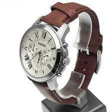 **NEW** MENS FOSSIL GRANT CREAM CHRONO BROWN LEATHER WATCH - FS4735 - RRP £109