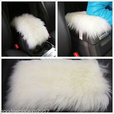 White Sheepskin Automobile Interior Center Armrest Arm Resting Pad Cushion Cover