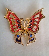 SALMON AND AMETHYST CRYSTAL BUTTERFLY BROOCH 18K GOLD PLATED FINISH CZECH MADE