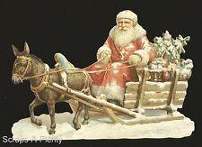 German Victorian Style Embossed Scrap Die Cut -Lrg Christmas Santa Sleigh BK5129