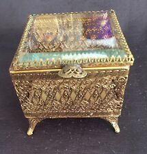 Vintage Ornate Gold Filigree Square Shaped Jewelry Box/Casket - Beveled Glass