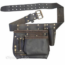 Oil Tanned Leather Tool Belt Pouch Muli Pocket Carpenter Builder Construction