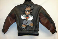 VTG 90's Mickey Leather Jacket Mouse Youth L/ XL Woman's XS Rockstar Coat Punk