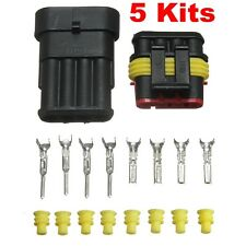 5 Kits 4 Pin Way Car Auto Wire Connector Sealed Waterproof Electrical Plug Set
