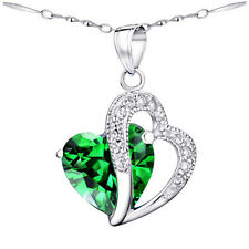5.66Ct Created Emerald Heart Cut Pendant Necklace 925 Sterling Silver w/ Chain