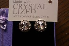 Genuine Swarovski Elements Gift Boxed Clear Crystal Stud Earrings 13mm - £25!